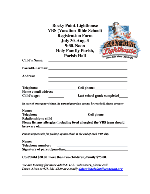 Rocky Point Lighthouse VBS (Vacation Bible School) Registration ... - holyfamilycapeann