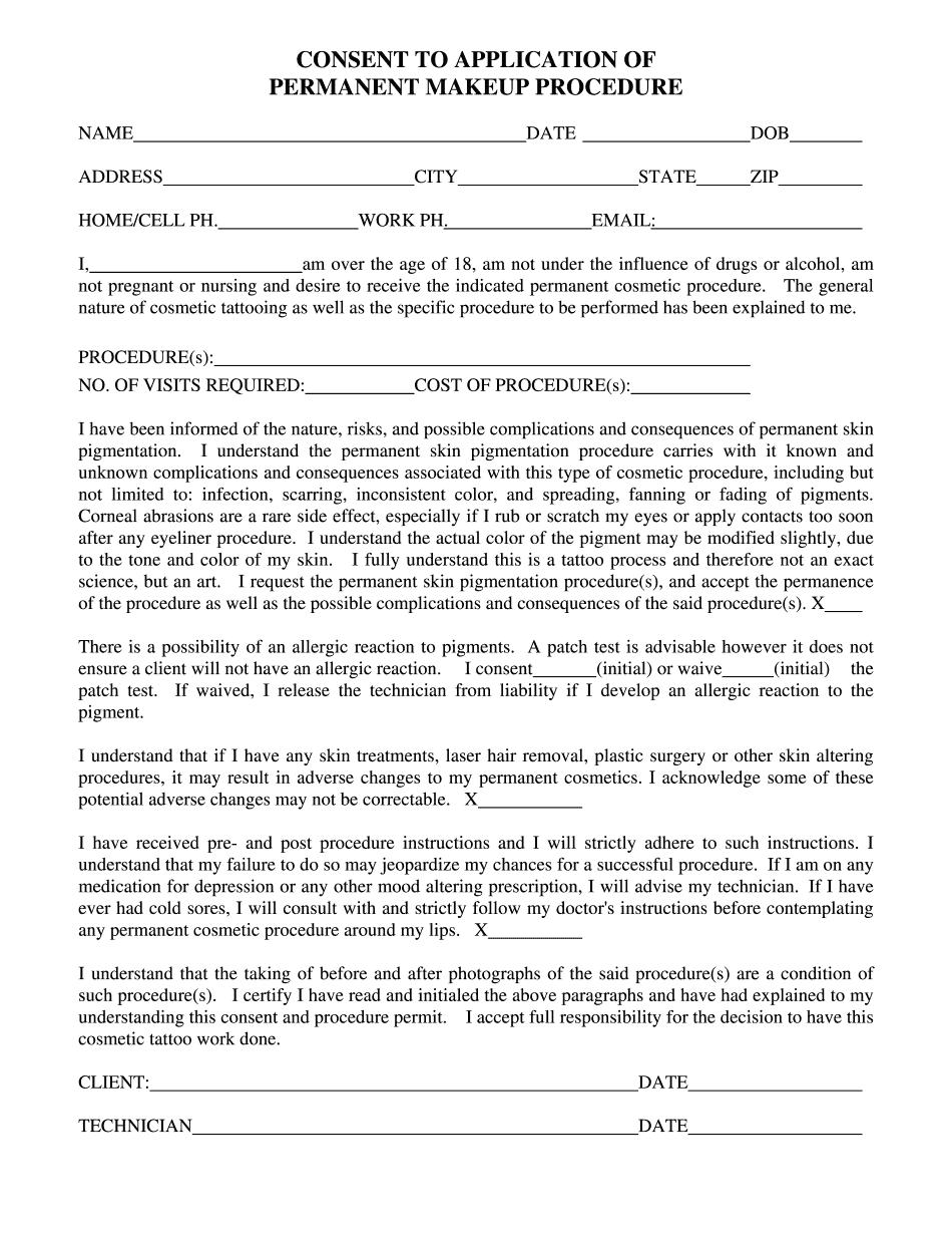 generic microblading consent form