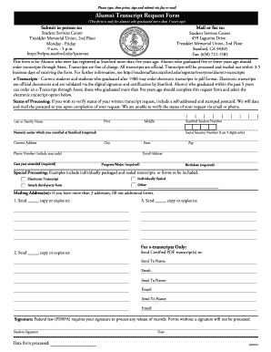 Stanford Transcript Request Form - Fill Online, Printable ...