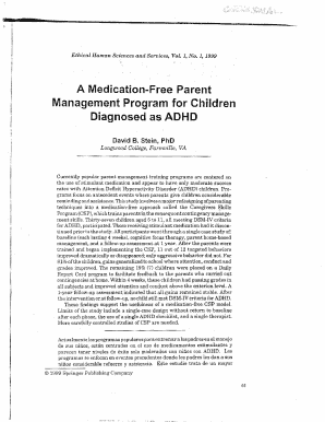 stein a medication  parent management program for children diagnosed as adhd form