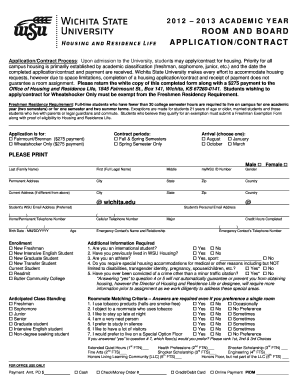 florida room and board contract template form