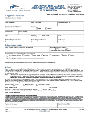 Certificate of qualification fillable form