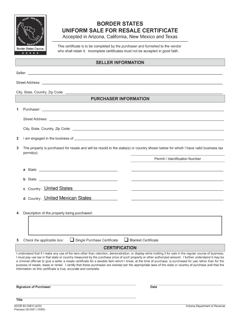 certificate resale border uniform states blank form pdffiller printable