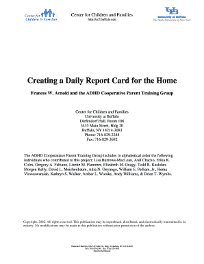 Fillable Online Creating A Daily Report Card For The Home Fax Email Print