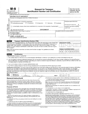 Fillable Online asu ASU Federal W-9 Form - Arizona State ...