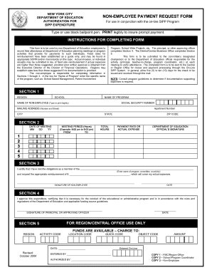 2004 NY DOE Non-Employee Payment Request Form Fill Online ...