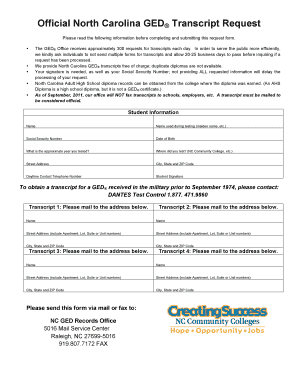 Nc Ged Fillable Transcript Form - Fill Online, Printable, Fillable ...