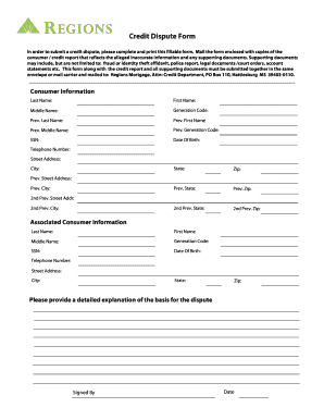 form for credit dispute