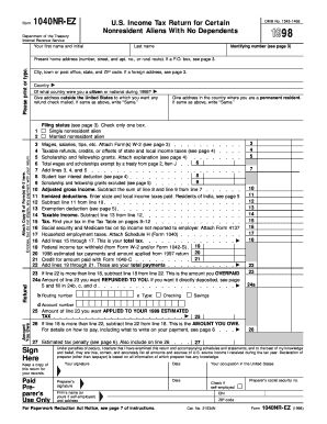 1998 Form 1040NR-EZ - irs