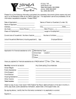Ymca Financila Aid Form - Fill Online, Printable, Fillable, Blank ...