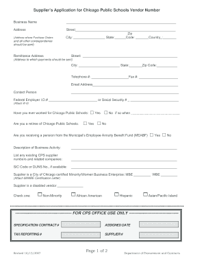 Cps Vendor Application - Fill Online, Printable, Fillable, Blank ...