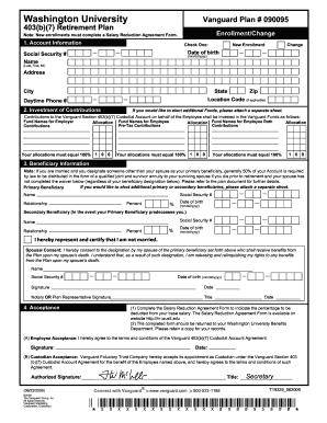 Fillable Online hr wustl Vanguard Enrollment Form - hr wustl Fax