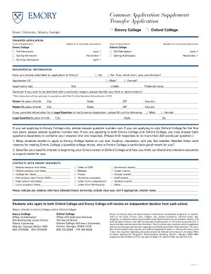 Emory common app supplement fillable form