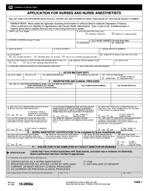 Application Form Application Form Va 10 2850
