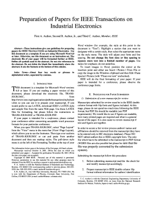 Ieee Transactions On Industrial Electronics Template - Fill Online ...