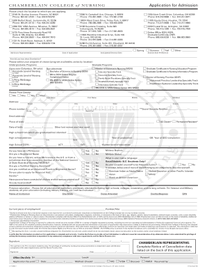 Chamberlain college of nursing online fillable application form