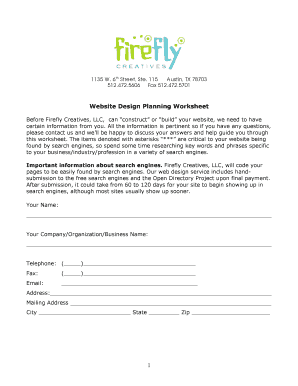 web design planning worksheet form