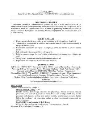cpc a sample resume form