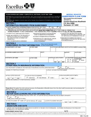 Excellus Form Msa 1 Rev 4c - Fill Online, Printable ...