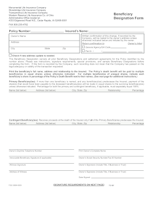 Beneficiary Designation Transamerica Form Fill Online Printable
