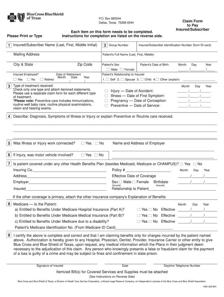 Blue Cross Blue Shield Claim Form Fill Online Printable