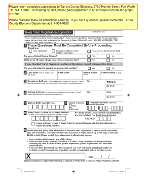 Bill Of Sale Form Texas Voter Registration Form Templates ...