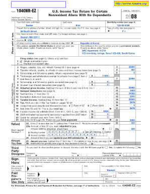 1040nr Ez Form - Fill Online, Printable, Fillable, Blank | PDFfiller