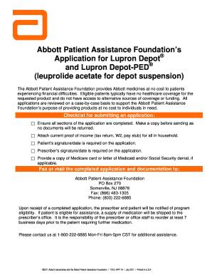 Abbott Patient Assistance Foundation Application Lupron