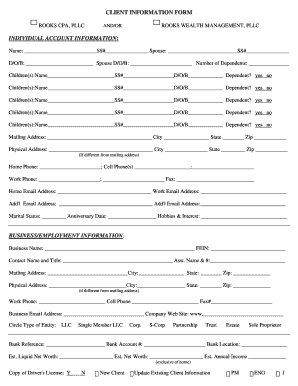 Cpa Client Information Form - Fill Online, Printable, Fillable ...