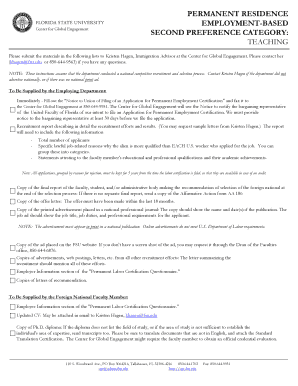PERMANENT RESIDENCE EMPLOYMENT-BASED SECOND ... - cge fsu