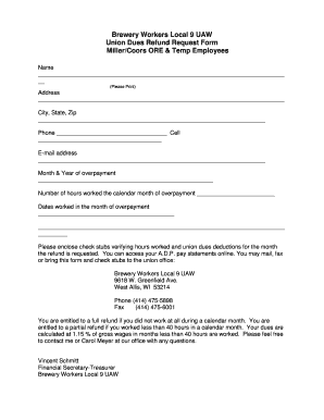 Union Dues Refund Request Form - Fill Online, Printable