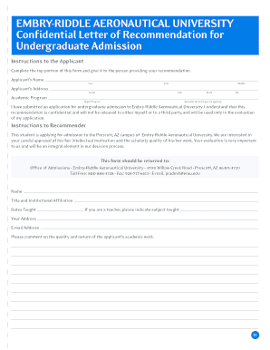 Letter of recommendation for college scholarship forms and templates embry riddle letter recommendation form spiritdancerdesigns Images
