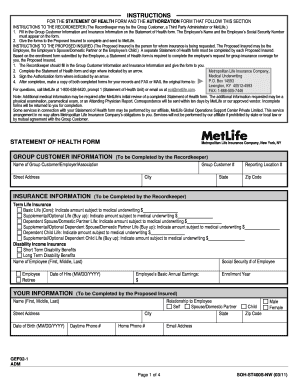 Metlife Statement Of Health Form Online - Fill Online, Printable ...
