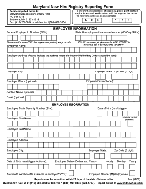 Maryland New Hire Registry Fillable Form - Fill Online, Printable ...