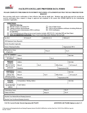 Care1st Facilityancillary Provider Data Form - Fill Online ...