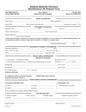 Alabama Medicaid Pharmacy Form - Fill Online, Printable, Fillable ...