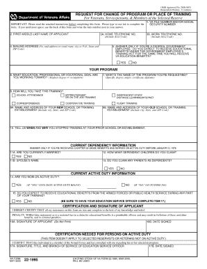 Fillable Online veteranservices ucmerced VA Form 22-1995 - Veteran ...