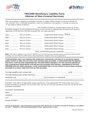 Tricare Waiver Of Liability Fill Online Printable Fillable
