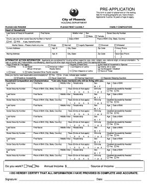 City Of Phoenix Housing Department Pre Application - Fill