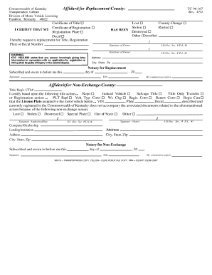 Ky Affidavit For Replacement Or Non Exchange - Fill Online ...