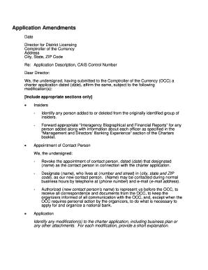 Fillable Online occ Application Amendments - occ Fax Email Print ...