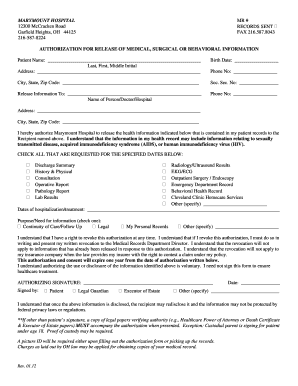 Marymount Hospital Authorization Fill Online Printable