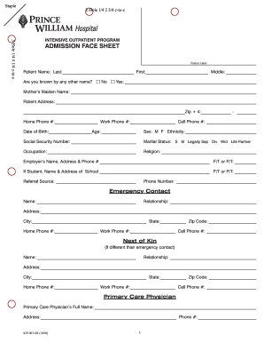 Medical Face Sheet Template  Hospital Admission Form Template