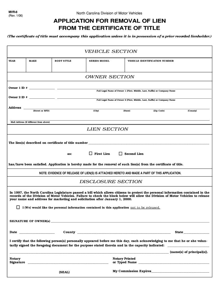 Mvr 8 Nc Dmv Fill Online Printable Fillable Blank