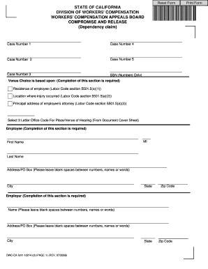 Compromise And Release Workers Comp California Writable Form ...