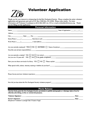 erie zoo volunteer application form Fill Online, Printable ...
