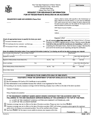 Form fs 25 fill online printable fillable blank for New york state department of motor vehicles bronx ny