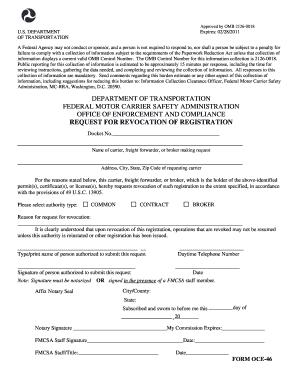 2011 form fmcsa oce 46 fill online printable fillable for Federal motor carrier safety regulations handbook 2017 pdf