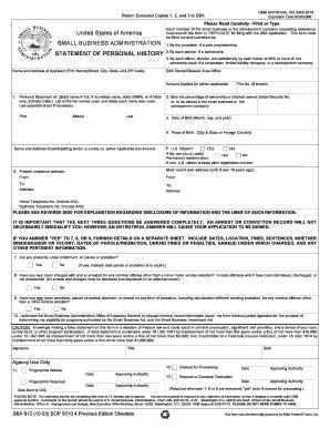 Small business administration sba form 413 pdf
