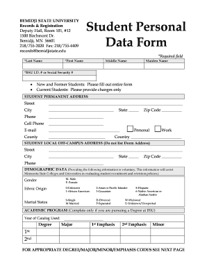 Personal Data Sheet Sample Student Form